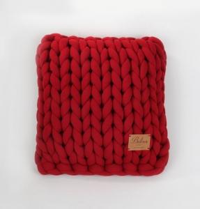 TepeHome - Chunky El Örgü Yastık Kırmızı