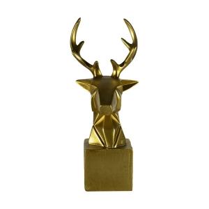 TepeHome - Dekoratif Geyik Başı Kübik Biblo Altın
