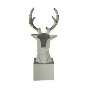 TepeHome - Dekoratif Geyik Başı Kübik Biblo Beyaz