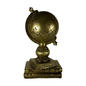 TepeHome - Dekoratif Kitaplı Yerküre Biblo Altın