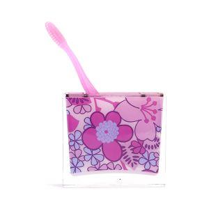 TepeHome - Diş Fırçalık pembe Çiçekli10x10x3cm