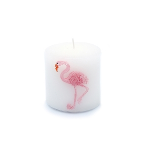 TepeHome - Gül Kokulu Mum Flamingo Desenli 7x7x7cm