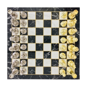 Klasik Satranç Seti Mermer Bronz-Altın - Thumbnail