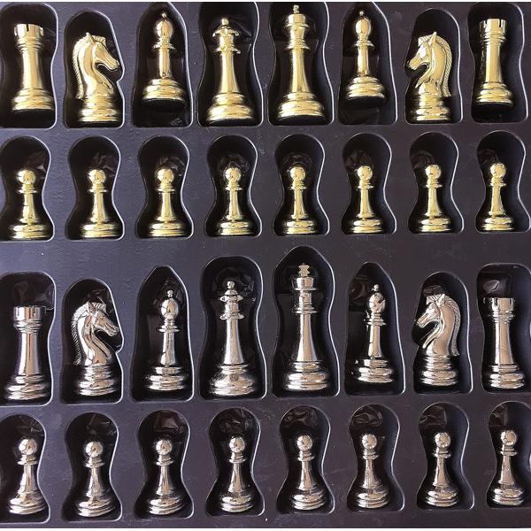 Klasik Satranç Seti Mermer Bronz-Altın