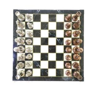 TepeHome - Klasik Satranç Seti Mermer Bronz-Gümüş