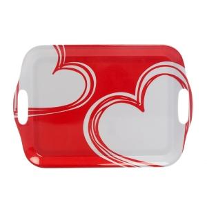 TepeHome - Kulplu Tepsi Kırmızı Kalp 42x29x0,4cm