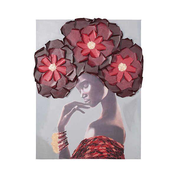 Pano Kırmızı Çiçek Kadın 90X120