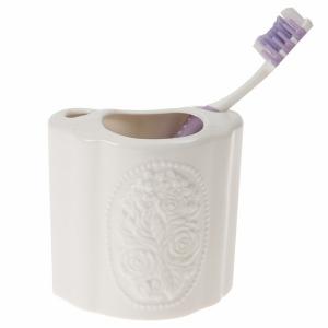 TepeHome - Seramik Diş Fırçalık Çiçekli 8x5x10cm