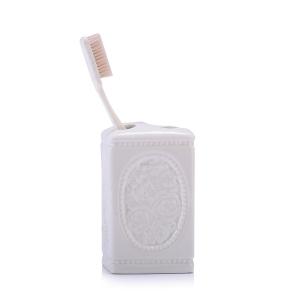 TepeHome - Seramik Diş Fırçalık Çiçekli 8x8x11cm