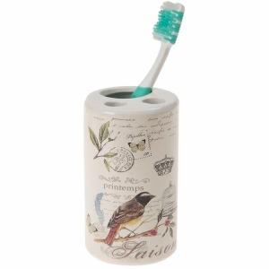 TepeHome - Seramik Diş Fırçalık Kuş Desen 7x7x11cm