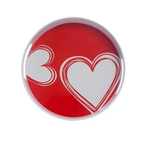 TepeHome - Yuvarlak Tepsi Kırmızı Kalp 30x30x5cm